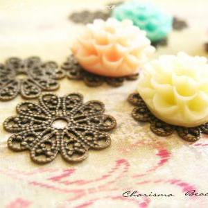6 Brass Vintage Filigree Caps - Con..