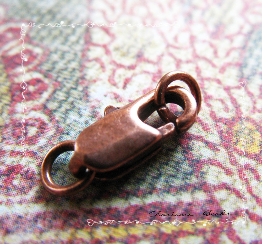 10 Brass Lobster Claw Clasps, 5x15mm, Hole: 3mm