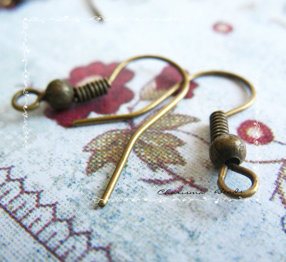 60pcs/30 pairs Antique Fish Hook Earwire , 18x17mm